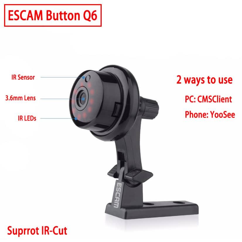ESCAM Q6 Button Mini Indoor IR-CUT Night Vision Camera
