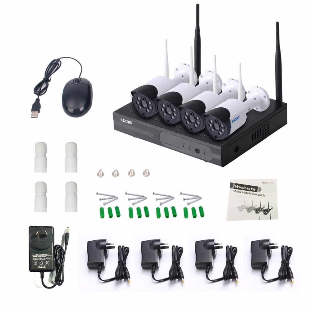 ESCAM WNK404 720P waterproof IR CCTV NVR Camera System