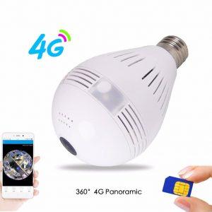 3G Sim Card 1080P 360 degree Wireless Bulb IP Camera