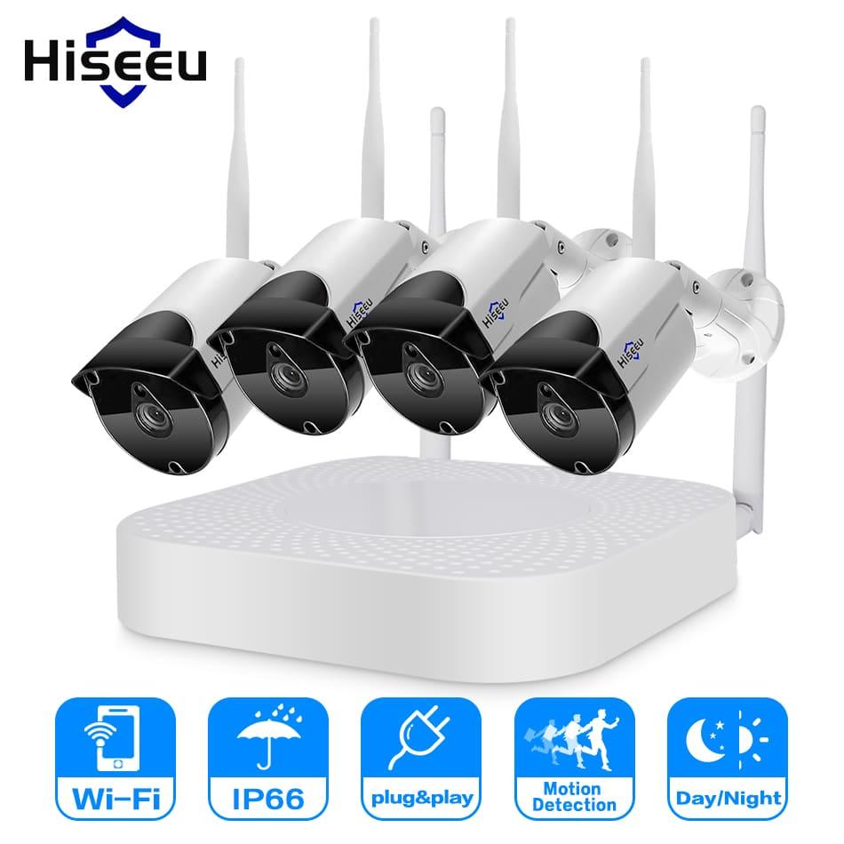 Hiseeu 4CH Wireless NVR 960P WIFI CCTV System
